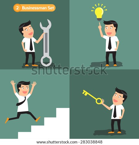 Businessman set: Successful businessman design concept with man personnel victory performance vector illustration. - stock vector