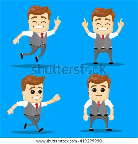 Businessman set. Vector Illustration Office man set: happy worker jumping, running. Manager character running. Manager character jumping. Manager character standing.