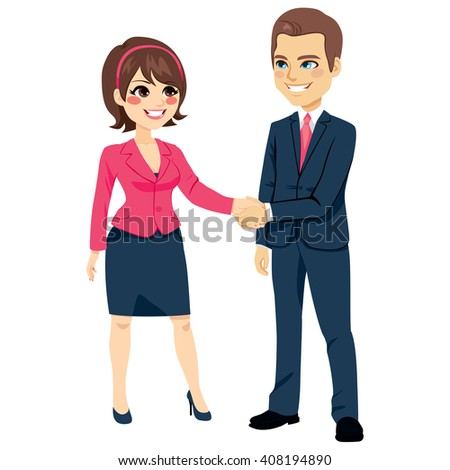 Businessman shaking hands with businesswoman happy standing negotiating - stock vector