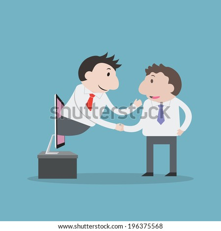 Businessman shaking hands with internet - Vector