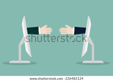Businessman shaking hands with internet,Vector EPS10.