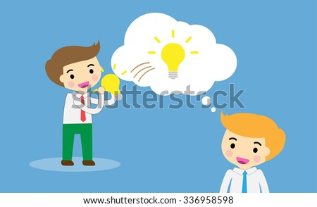 businessman Share Idea. cartoon flat design. Business plan concept. Vector illustration. two business man blue background. team teamwork. borrow Idea, steal ideas.