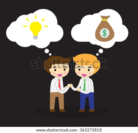 businessman Share Idea. cartoon flat design. Business plan concept. Vector illustration. two business man. team teamwork. Brainstorming. fix the problem. Key to success. Ideas Exchange money - stock vector