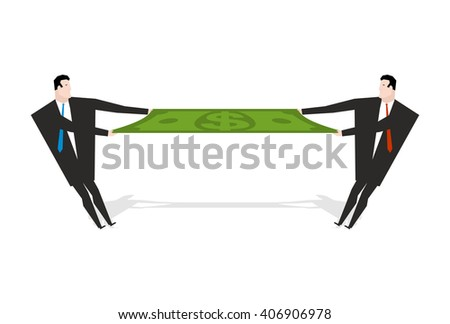 Businessman share profits. Two people pull dollar. Income Section. Man in a business suit tearing money. Finance Section - stock vector