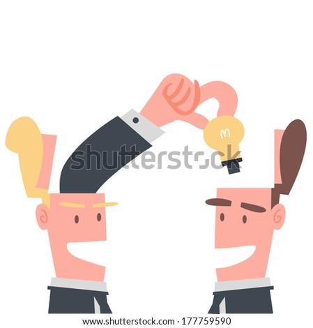 Businessman Sharing Idea - stock vector