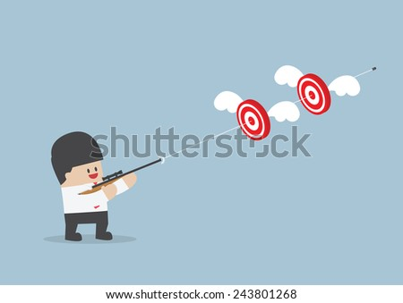 Businessman shoot two targets with one bullet, VECTOR, EPS10 - stock vector