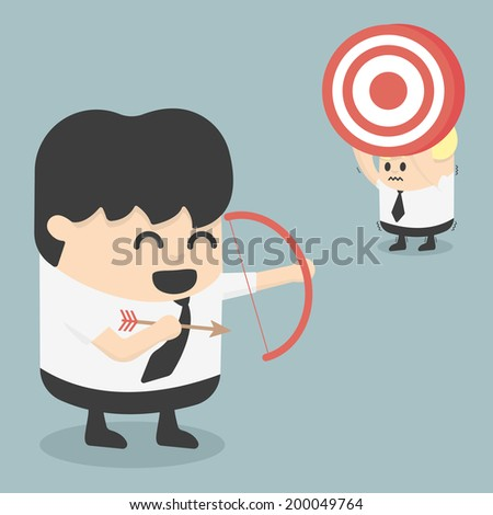 Businessman shooting target with a bow.eps.10 - stock vector