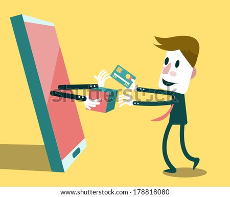 Businessman shopping online with smart phone. E-commerce concept. Vector - stock vector