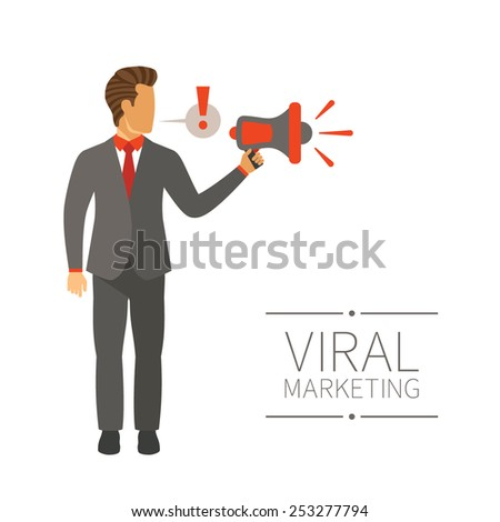Businessman shouting in megaphone vector concept in modern flat style - stock vector