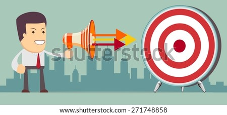 Businessman shouting in megaphone vector concept in modern flat style. Men holding a megaphone, promotion marketing concept.Vector illustration of a cartoon businessman - stock vector