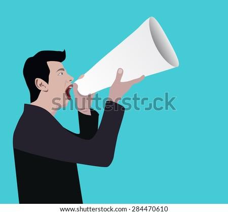 Businessman shouting of his voice through a loudspeaker megaphone paper - stock vector