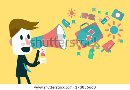 Businessman shouting with loudspeaker on a yellow background. business concept. vector - stock vector