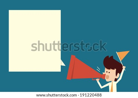 businessman shouting with megaphone. - stock vector