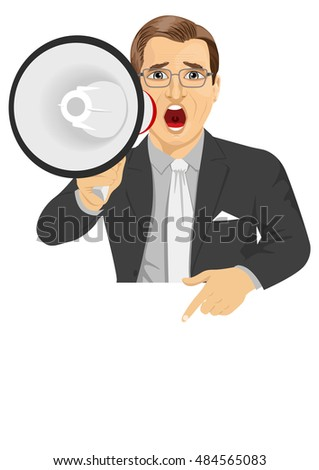 businessman shouting with megaphone pointing to billboard with text for copyspace