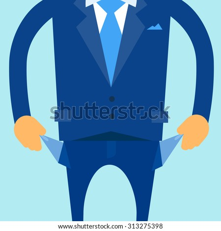 Businessman Show Empty Pocket, Turning Inside Out No Money Flat Vector Illustration - stock vector
