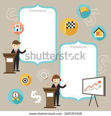 Businessman Show Success Achievement with Copy Space Frame, Flat Design of Business Marketing, Success and Achievement - stock vector