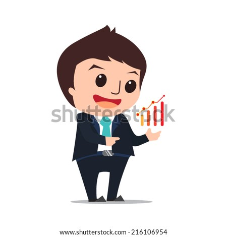 businessman show success flat design cartoon eps10 vector