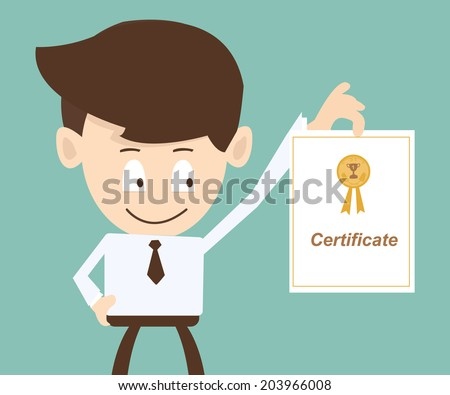 businessman showing a certificate - stock vector