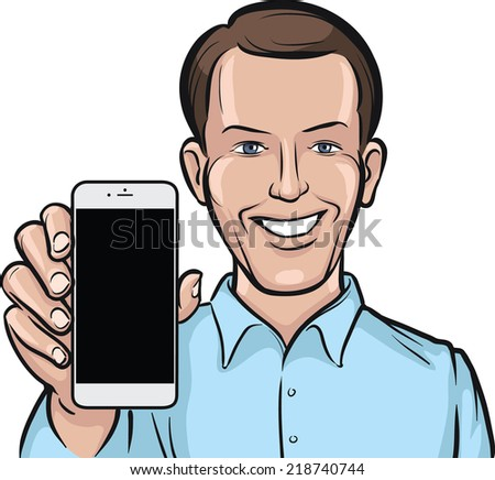 businessman showing a mobile app on a smart phone - stock vector