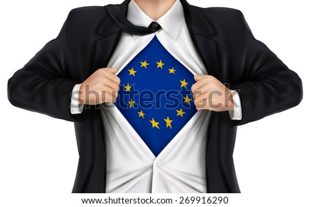 businessman showing Europe flag underneath his shirt over white background - stock vector