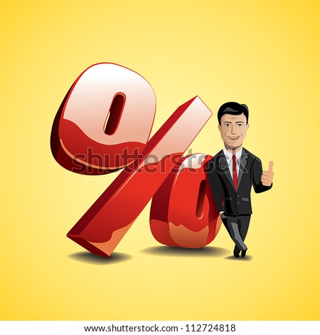 businessman showing growth of profit - stock vector
