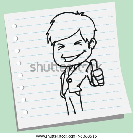 Businessman showing thumb up doodle illustration - stock vector