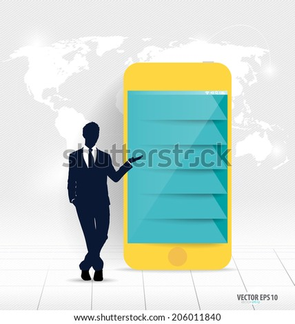 Businessman showing touchscreen device with Infographic design template. Vector illustration. - stock vector