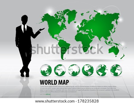 Businessman showing world map and modern green globes, vector illustration