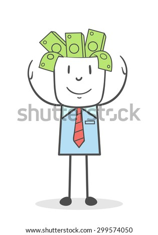 Businessman shows his head filled with money