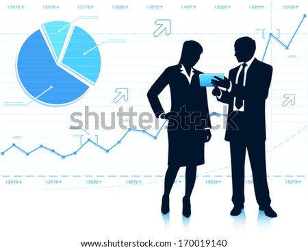 Businessman shows tablet computer to businesswoman - stock vector