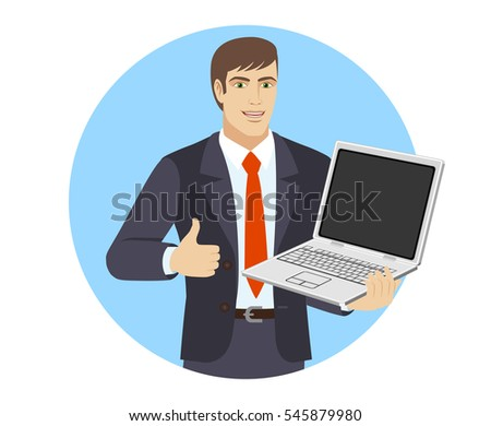 Businessman shows the thumb up. Businessman holding laptop notebook. Portrait of businessman in a flat style. Vector illustration.