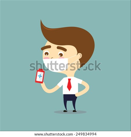 businessman sick and holding drug bottle vector - stock vector