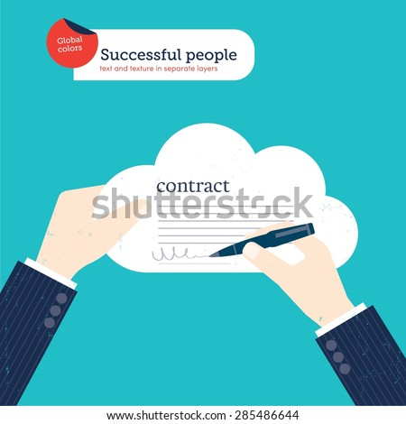 Businessman signing a contract in a cloud. Vector illustration Eps10 file. Global colors. Text and Texture in separate layers. - stock vector