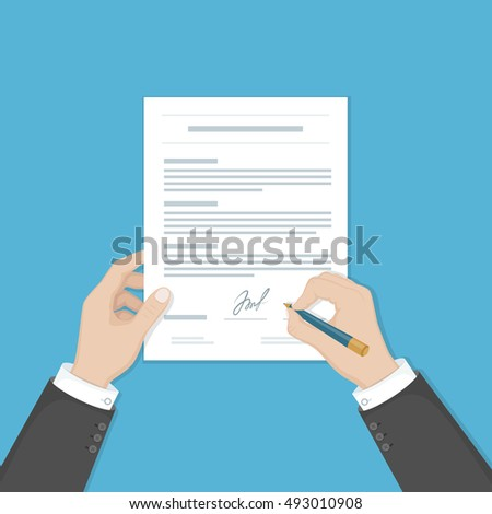 Businessman signing a document. Man hands with pen and contract. The process of business financial agreement. Document with a signature. Vector illustration view from above.