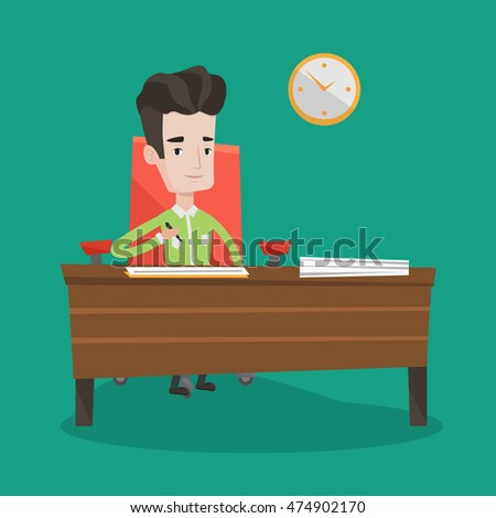 Businessman Signing Business Documents Office Man Stock Vector