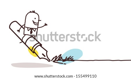 businessman signing up  - stock vector
