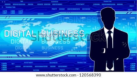 Businessman silhouette on a hi-tech background. (EPS10 vector) - stock vector