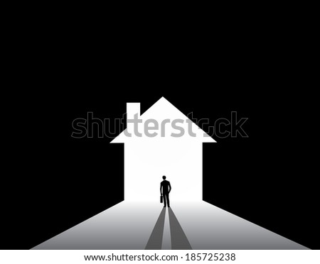 Businessman silhouette standing front of house home shape door. nicely dressed business man in suit with suitcase stand thinking, dreaming, planning building big house for real estate industry - stock vector