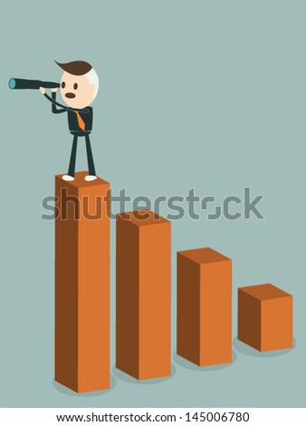 Businessman sit on garph looking forward into the future, vector format - stock vector