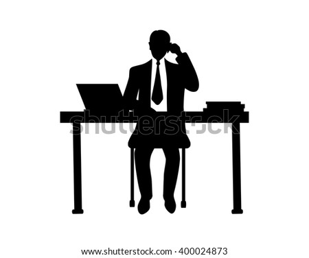 Businessman sitting at a table and talking on the phone.Black outlines on white.