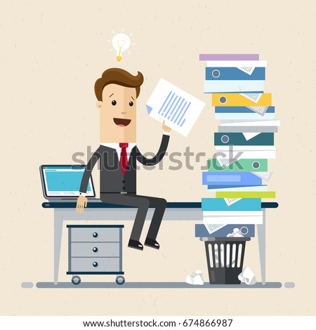 Businessman sitting at office desk in office. Stack of  folders with documents  is on the table. Business and finance concept. Vector, illustration, flat