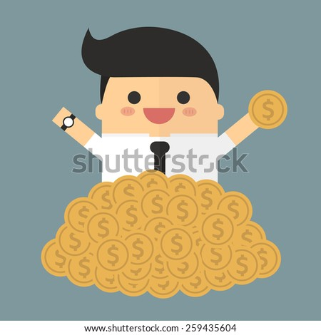 Businessman sitting in a pile of gold coins vector. flat design. - stock vector