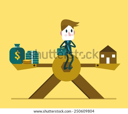 Businessman sitting in the middle of scale, weight between work-money and family relationship. vector illustration - stock vector