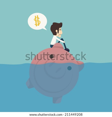 Businessman sitting on a piggybank , businessman no money  , eps10 vector format - stock vector