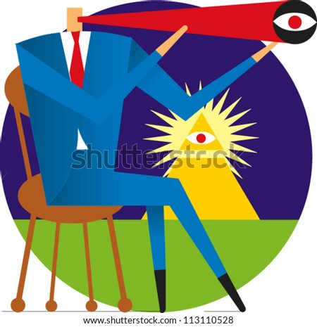 Businessman sitting on chair looks through telescope with monetary currency pyramid in the background - stock vector