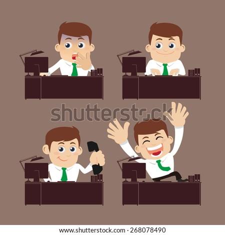 Businessman sitting on desk  - stock vector