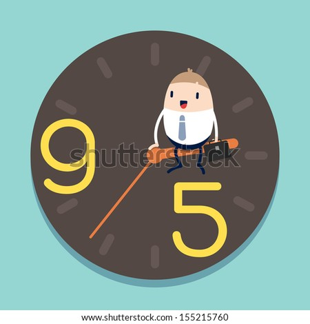 businessman sitting on hour hand of Clock with 9 to 5 concept - stock vector