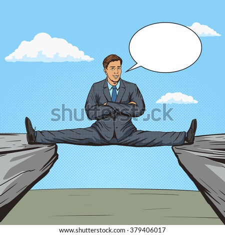 Businessman sitting on split between rocks pop art style vector illustration. Human illustration. Comic book style imitation. Vintage retro style. Conceptual illustration