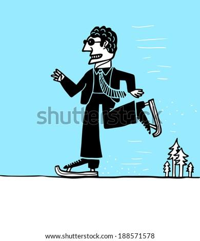 businessman skating in ice - stock vector