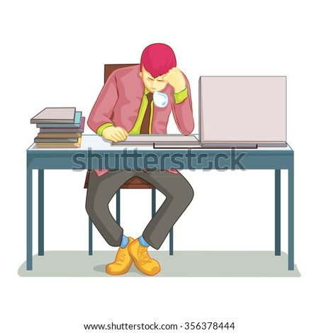 Businessman sleeping on his office desk top. Table and work, sleepy and job, nap and lazy, asleep and worker. Vector illustration - stock vector